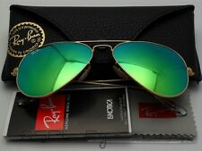 Ray Ban Aviator Flash Glasses RB 3025 112/19 Matte Gold Green Mirror Large 62 mm