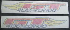 Set of 2 GT 4130 BUTTED CR-MO DECAL STICKERS/BMX/Racing/cromo/cromoly/WINGS