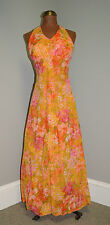 Vintage 1960's Mod Hawaiian Chiffon Flower Formal Prom Cocktail Dress  - XS