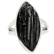 Black Tourmaline Rough 925 Sterling Silver Ring Jewelry s.7 BTRR119