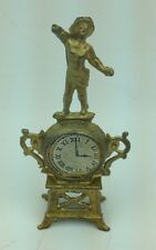 """Antique 2.5"""" Doll House Gilt Metal French Mantel Clock w Statue signed Depose"""