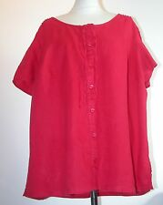 """VINTAGE 1990'S LOOSE RED LINEN BLOUSE TOP WITH TIE AT NECK -  B 48-50"""""""
