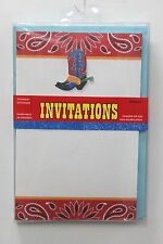 COWBOY WESTERN PARTY INVITATIONS American Country Birthday Printable NEW