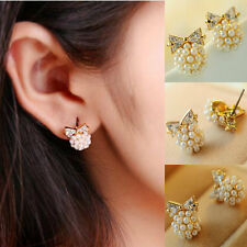 1 Pair Women's Simple Gold Plated Bow Imitation Pearl Earrings Ear Stud Jewelry