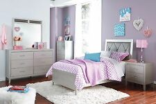 """Ashley """"Olivet"""" Twin Hollywood Silver 6 Piece Bedroom Set w/Chest Furniture B560"""