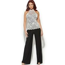 BNWT Amy Childs Lorna Lace Black White Evening Occasion Jumpsuit Size 10 NEW