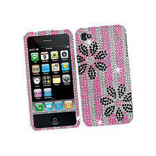 Apple iPhone 4 4S Crystal Diamond BLING Hard Case Phone Cover Pink Black Flowers