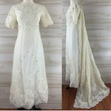 Vintage 60s ivory lace short sleeve beaded wedding empire dress & veil S M