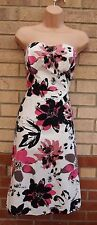 ICENI WHITE BLACK PINK FLORAL BANDEAU A LINE SKATER ROCKABILLY 50 DRESS 18