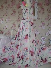 Monsoon size 16 Kate ivory,pink floral maxi dress new tags