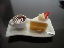 Slice Cake Bakery and Coffee on Tray Dollhouse Miniatures Food Supply Deco-3