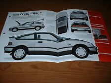 ★★1988 HONDA CIVIC CRX ORIGINAL IMP BROCHURE SPECS INFO 88 89 90 91 92 CR-X★★