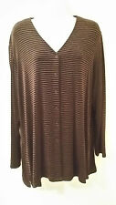 NWT Chico's Travelers Button Down V- Neck Cardigan Sweater Sz 3 - (XL) Striped