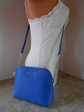 New MICHAEL KORS Cindy Large Dome Saffiano Leather Crossbody $168 ELECTRIC BLUE