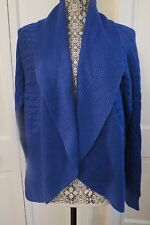 Pretty Ralph Lauren Cabled Blue Open Cardigan Shawl Collar Large - NWT - $165