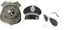 Da Uomo Instant KIT POLIZIOTTO PC Cappello Occhiali BADGE COP Fancy Dress Costume Stag divertente