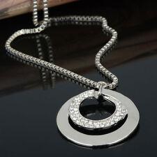 Femmes Longue chaîne Collier en Cristal argenté Pendentif forme de deux boucle