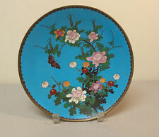 "BEAUTIFUL 19th C. CHINESE CLOISONNE on BRONZE 9.5"" CABINET PLATE / CHARGER"