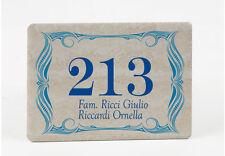 numero civico, targa ceramica in porcellana effetto marmo travertino