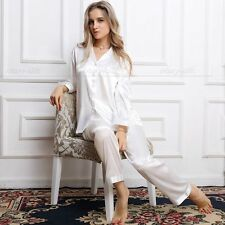 Gift  Women  Silk Satin Pajamas Pajama Set Sleepwear Set  Loungewear White   XL