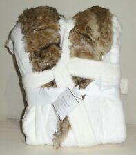 POTTERY BARN Faux Fur SMALL Robe Without Hood, IVORY/GRAY, NEW - NO MONO