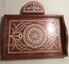 Wooden Tray with White Inlay with Handles & Matching Napkin Holder Made in India