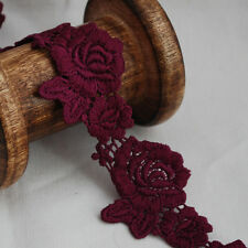 Guipure Lace Trim - Floral Rose Flower Leaf  - Red Violet - 4cm Wide