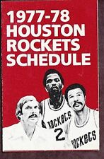 1977-78 HOUSTON ROCKETS JACK IN THE BOX NBA BASKETBALL POCKET SCHEDULE