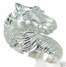 Solid 925 Sterling Silver Satin Finish Horse Ring Size 6 '