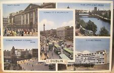 Irish Postcard DUBLIN Ireland Multiview Trinity O'Connell St CIE Liffey Dennis