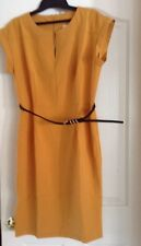 Doublju Women's Zipper Closure Cap Sleeve Midi Dress with Belt, Mustard, XL, NEW