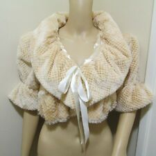 FLUFFY Soft puff ruffle WRAP fur BOLERO evening Glam club Jacket crop coat top M