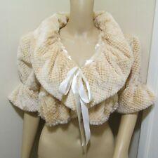 FLUFFY Soft puff ruffle WRAP fur BOLERO evening Glam club Jacket crop coat top M