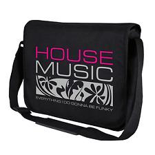 House Music | DJ | Club | Clubbing | Schwarz | Umhängetasche | Messenger Bag