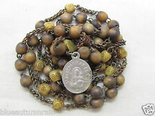 """† SCARCE 1700s ANTIQUE """"ST JOSEPH OF A HAPPY DEATH BOVINE WOOD CHAPLET ROSARY †"""