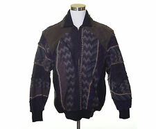 TUNDRA CANADA Wool Jacket Suede Leather Shoulder Black Lined Zip Cosby Coat L