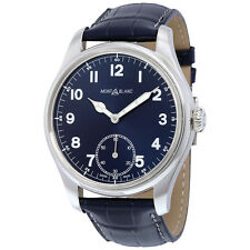 Montblanc 1858 Blue Dial Blue Leather Mens Watch 113702