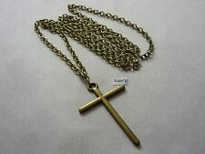 "A Large Bronze Style Cross Charm Pendant (48 x 30mm) Long ( 30"" ) Chain Necklace"