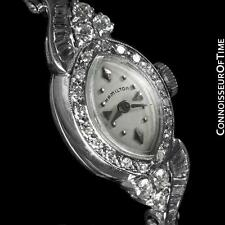 1960's HAMILTON Vintage Ladies Bracelet Watch - 14K White Gold & Diamonds