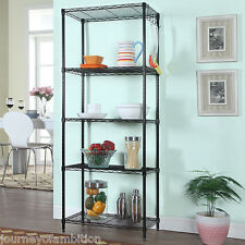 Home Kitchen Garage Wire Shelving 5 Shelf Storage Rack Unit Shelf Metal Closet