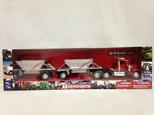 Kenworth W900 Twin Belly Dump Truck, 1:32 Scale Diecast, New Ray Toy, Red