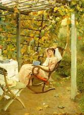 Oil painting Bluhm, Oscar German artist - In the Pergola young girl reading book