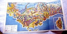 VINTAGE PAMPHLET LOVELY 3D MAP  FRENCH RIVIERA TOULON MARSEILLE CANNES 1950's
