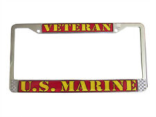 "U.S. MARINE VETERAN Chrome Auto Car License Plate Frame ""Made in the USA"""