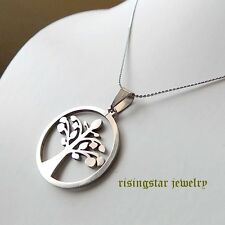 Men Women Tree of Life Force of Nature Symbol Stainless Steel Pendant Necklace