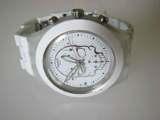 FULL-BLOODED WHITE SKULL! Swatch DIAPHANE CHRONO with DATE!