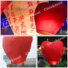 40 RED HEART Chinese Flying Sky Paper Kongming Floating Wishing Lantern Wedding