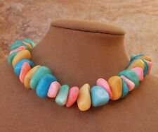 PASTEL RAINBOW JADE NUGGET NECKLACE CHUNKY JEWELRY PINK YELLOW AQUA BLUE PURPLE
