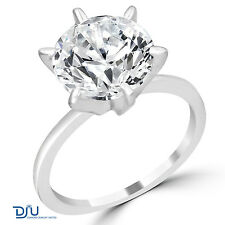 4.39 Ct Round Cut Diamond Engagement Ring SI2/D 14K White Gold