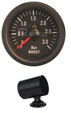 Black 52mm Car Diesel Boost Gauge 3 BAR clear lens Mechanical + 52mm POD